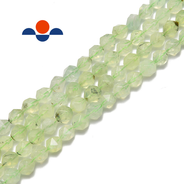 prehnite faceted star cut round beads