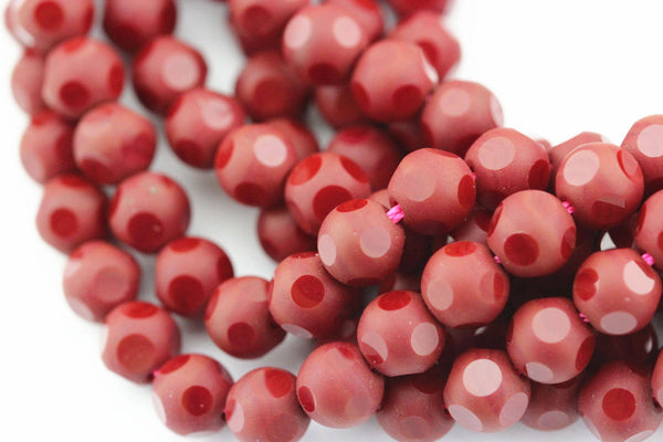 red crystal glass faceted round beads