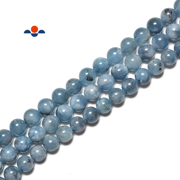 Dark Blue Aquamarine Smooth Round Beads Size 6mm 8mm 10mm 15.5'' Strand