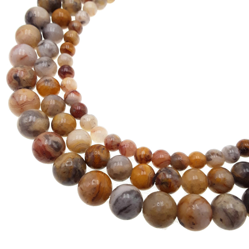 "2.0mm Hole Crazy Agate Smooth Round Beads 6mm 8mm 10mm 15.5"" Strand"