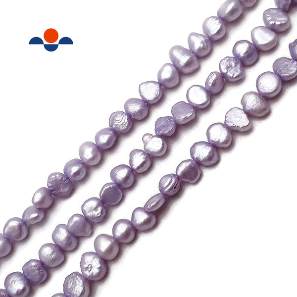 "Lavender Purple Fresh Water Pearl Center Drill Nugget Beads 6-7mm 16"" Strand"