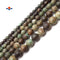 "Green Brown Chrysoprase Faceted Round Beads 6mm 8mm 10mm 12mm 14mm 15.5"" Strand"