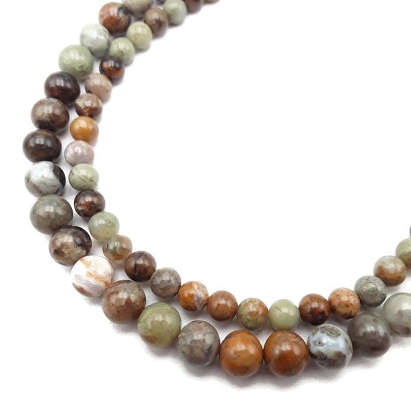 green ocean jade smooth round beads