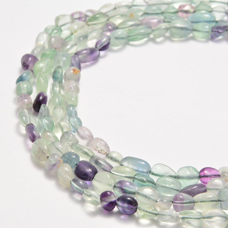 natural fluorite pebble nugget beads