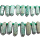 natural amazonite graduated top drill faceted points beads