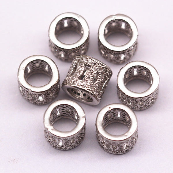 silver micro pave zircon cylinder charm
