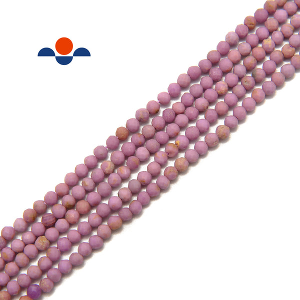 "Phosphosiderite Faceted Round Beads Size 2mm 3mm 4mm 15.5"" Strand"