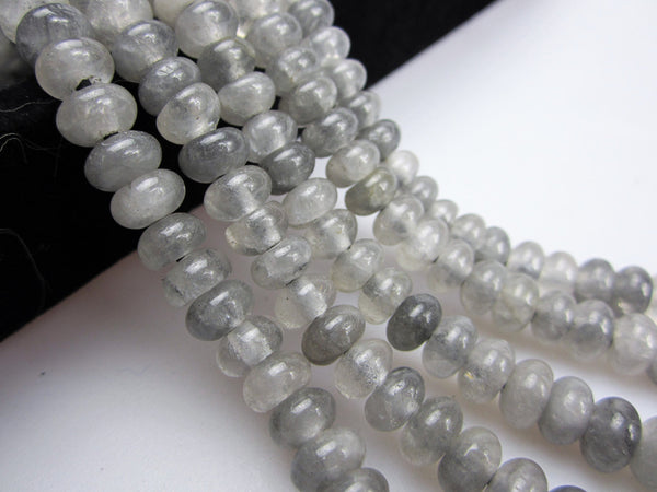 large hole cloudy quartz smooth rondelle beads