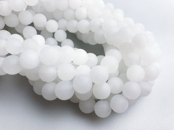 natural white jade matte round beads