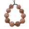 large hole natural peach moonstone carved round beads