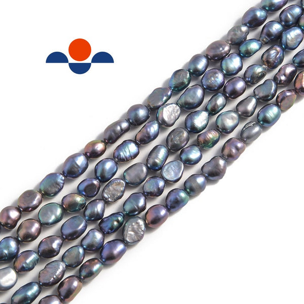 peacock fresh water pearl side drill nugget beads