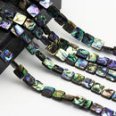 "Abalone Square Shape Beads 8mm 10mm 12mm 14mm 16mm 15.5"" Strand"
