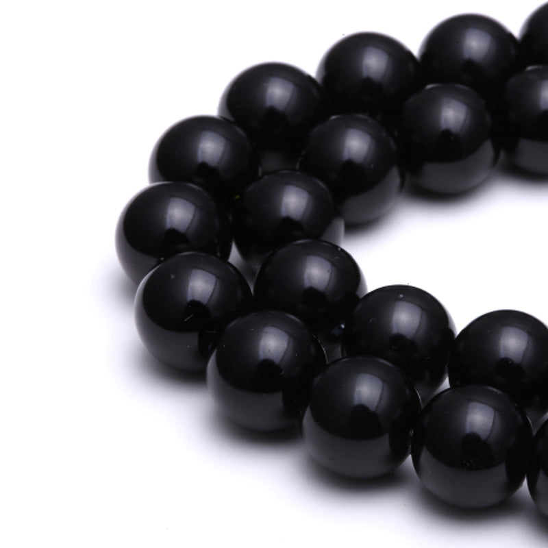 "Black Glass Pearl Smooth Round Beads 6mm 8mm 10mm 15.5"" Strand"
