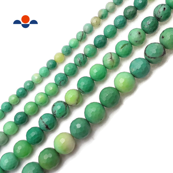 "Natural Chrysoprase Faceted Round Beads 4mm 6mm 8mm 10mm 12mm 15.5"" Strand"
