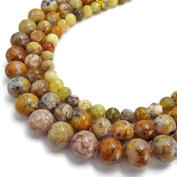natural yellow opal smooth round beads