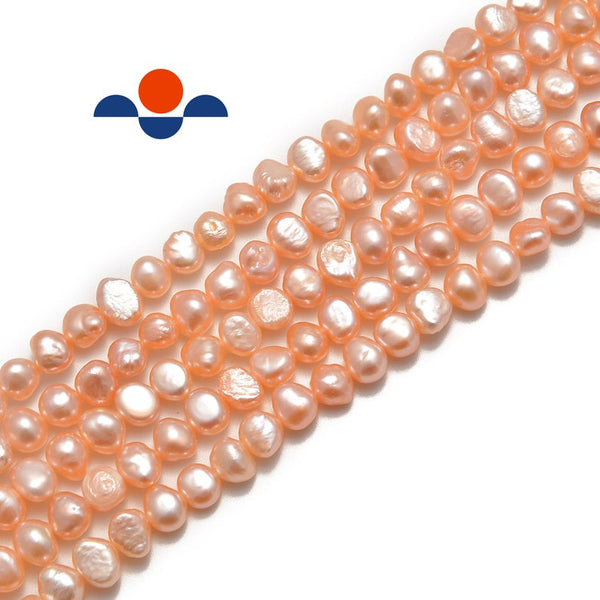 pink fresh water pearl center drill nugget beads