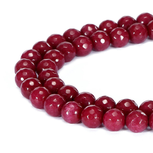 ruby red dyed jade faceted round beads