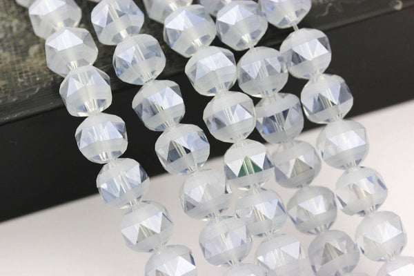 light blue crystal glass matte faceted round