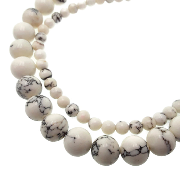 marble white howlite turquoise smooth round beads