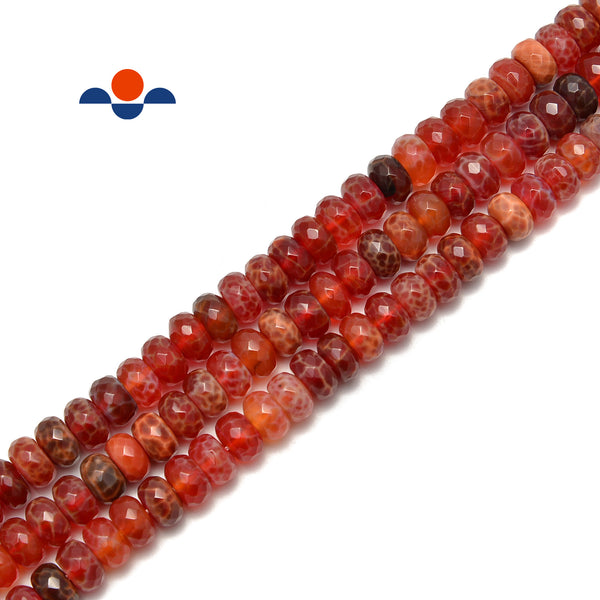 "Burnt Orange Fire Agate Faceted Rondelle Beads Size 5x8mm 6x10mm 15.5"" Strand"