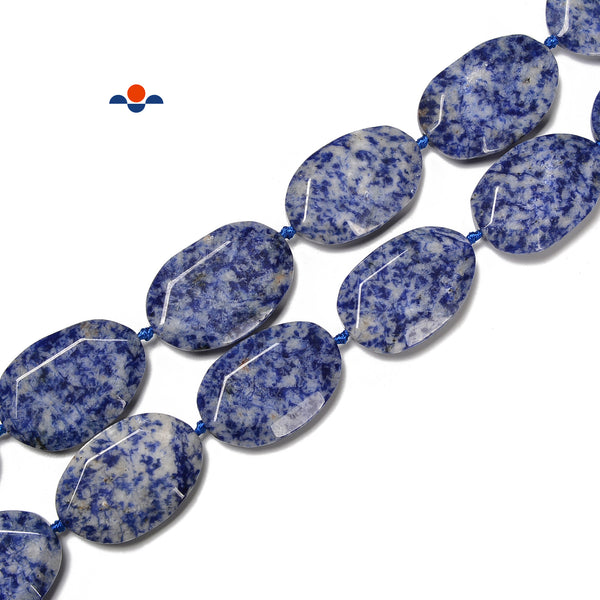 Natural Blue Spot Jasper Faceted Oval Beads Size 28x42mm 15.5'' Strand