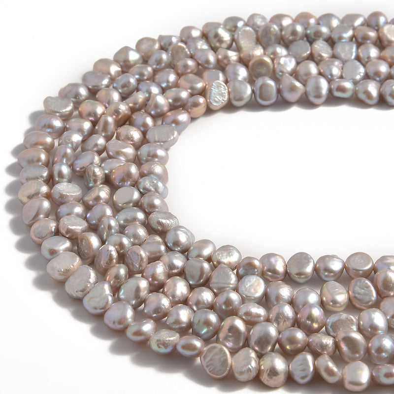 gray fresh water pearl center drill nugget beads