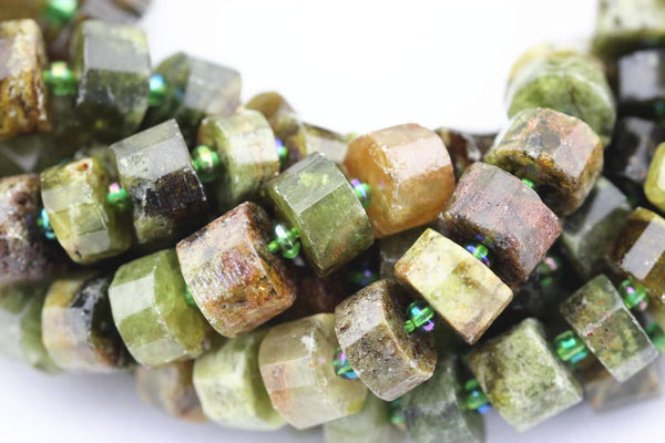 natural green garnet faceted rondelle wheel Discs beads
