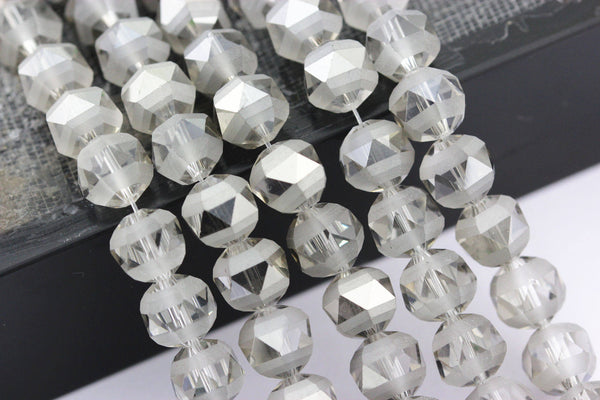 smoky gray crystal glass matte faceted round beads