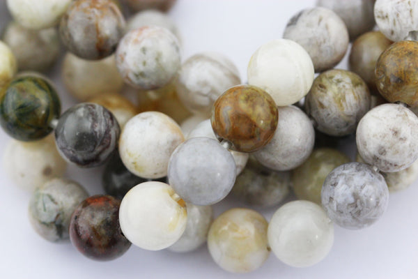 large hole bamboo leaf agate smooth round beads