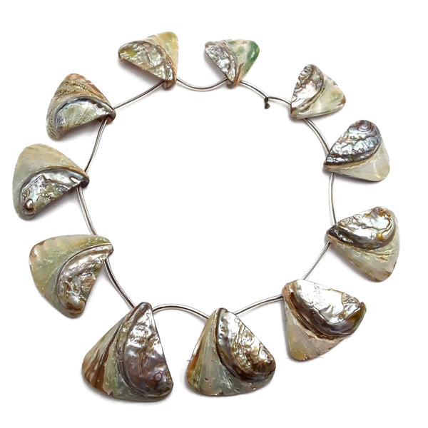 natural abalone graduated triangle shell beads