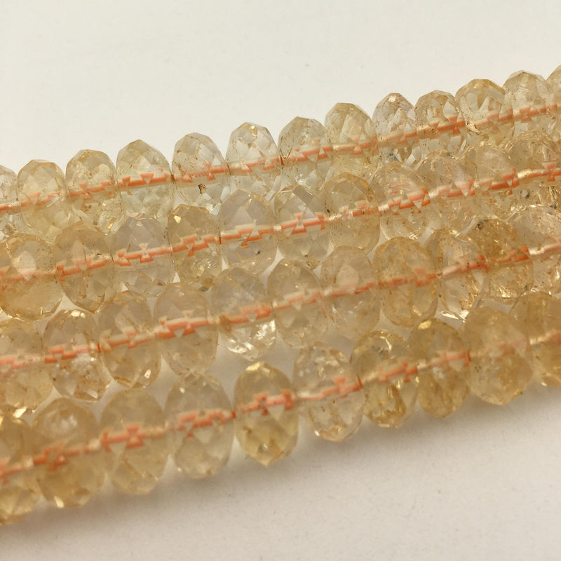 natural citrine faceted rondelle beads