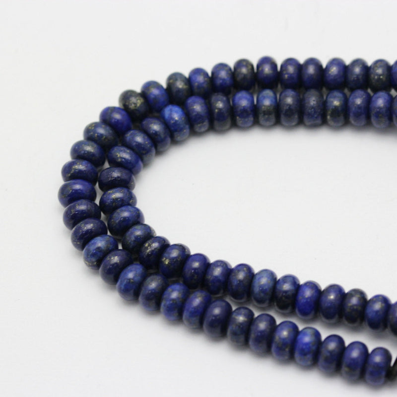 "2.0mm Hole Lapis Lazuli Smooth Rondelle Beads 5x8mm 6x10mm 8"" Strand"