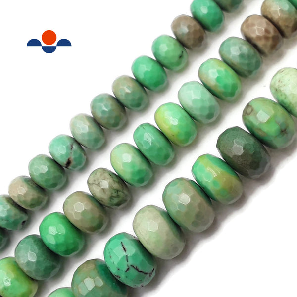 "Natural Chrysoprase Faceted Rondelle Beads 8x12mm 8x14mm 10x16mm 15.5"" Strand"