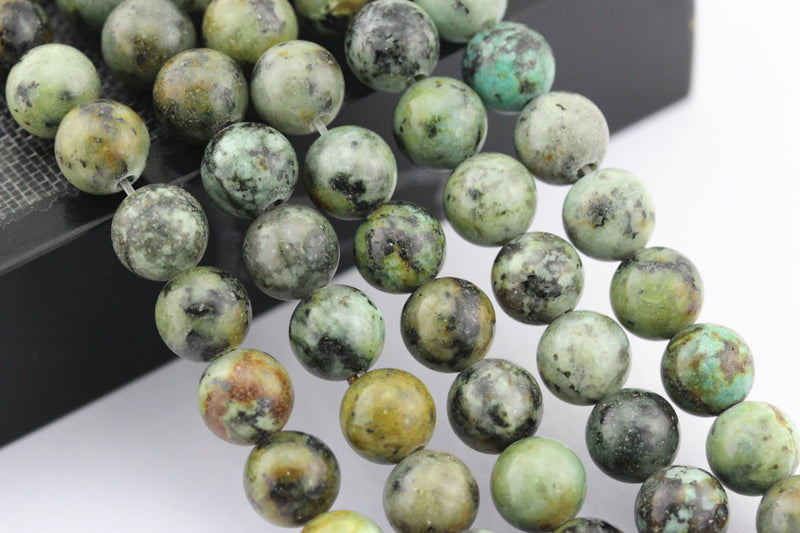"2.0mm Hole African Turquoise Matte Round Loose Beads 8mm 10mm 15.5"" Strand"