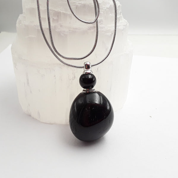 Black Onyx Perfume / Oil Bottle Pendant Necklace Approx 50mm x 20mm