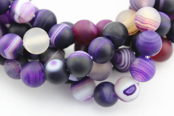 large hole purple Striped agate matte round beads