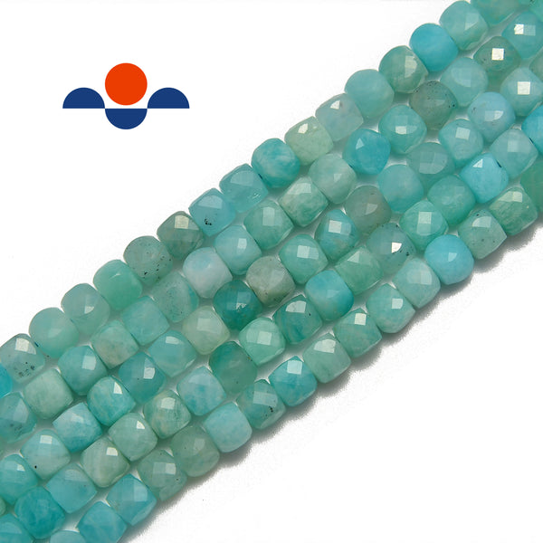 natural amazonite faceted square cube dice beads