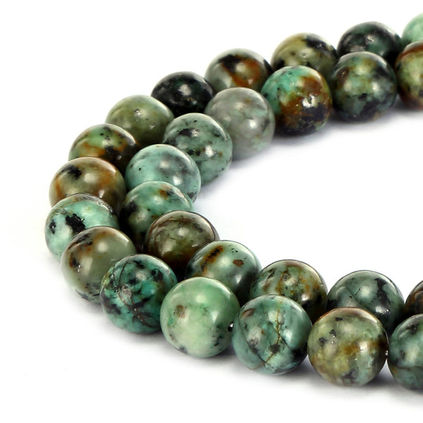 african turquoise smooth round beads