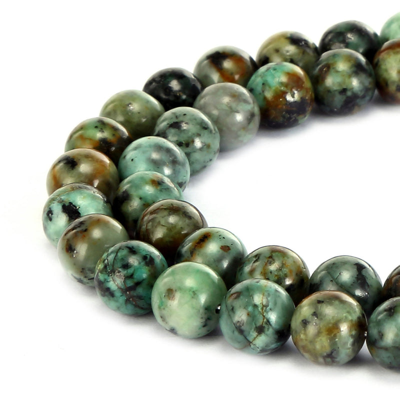 "African Turquoise Smooth Round Beads 4mm 6mm 8mm 10mm 12mm 15.5"" Strand"
