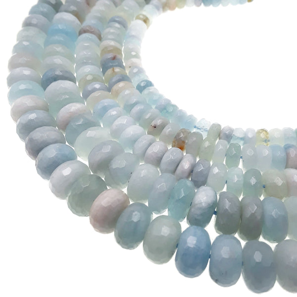 multi blue aquamarine faceted rondelle beads