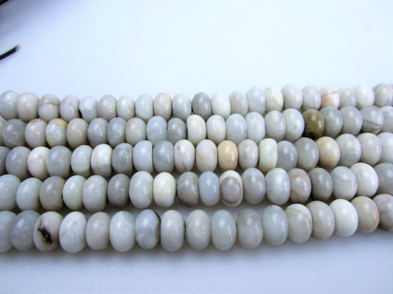 large hole white agate smooth rondelle beads