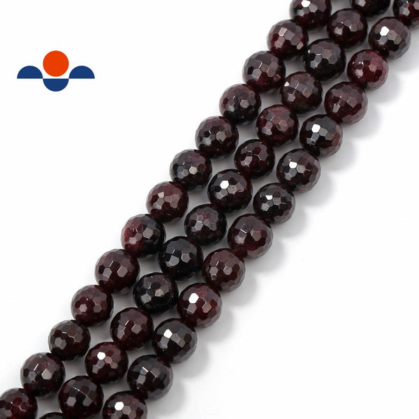natural garnet faceted round beads