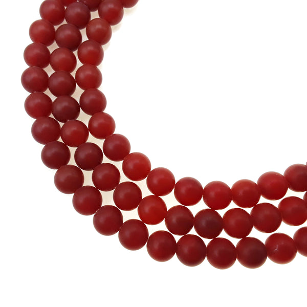 large hole red agate carnelian matte round beads