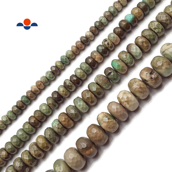 Brown Green Chrysoprase Faceted Rondelle Beads 4x6mm 5x8mm 6x10mm 7x12mm 15.5""
