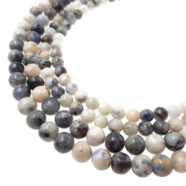 black blue spot jasper smooth off round beads