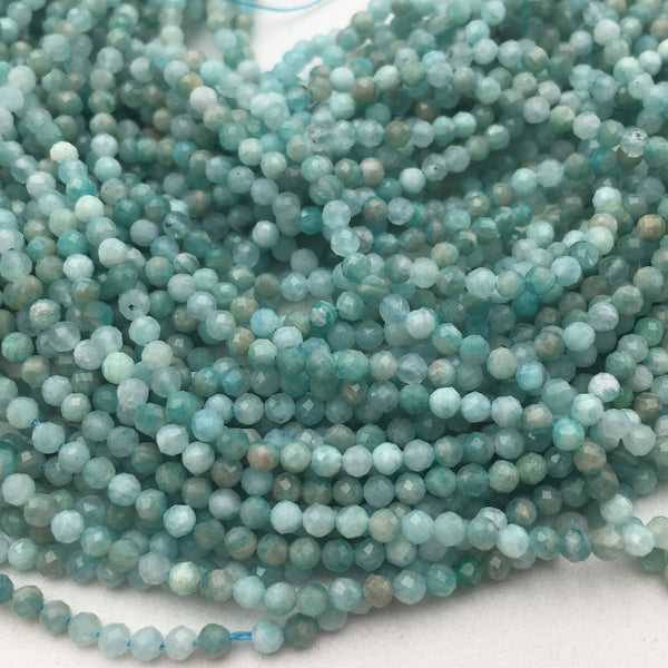 natural green amazonite faceted round beads