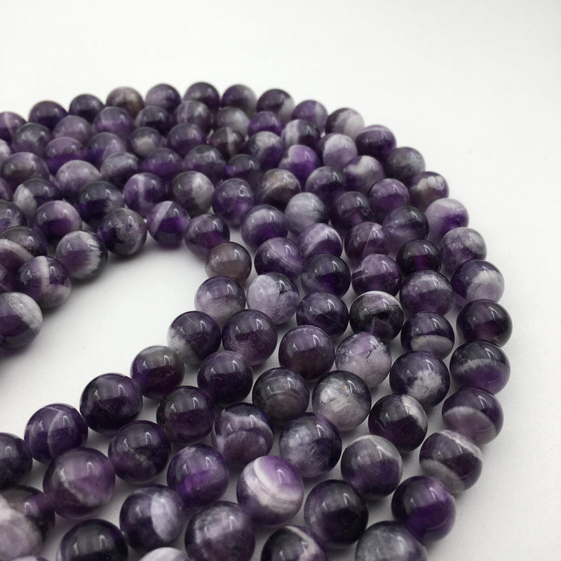 "2.0mm Hole Teeth Amethyst Smooth Round Beads 8mm 10mm Approx 15.5"" Strand"