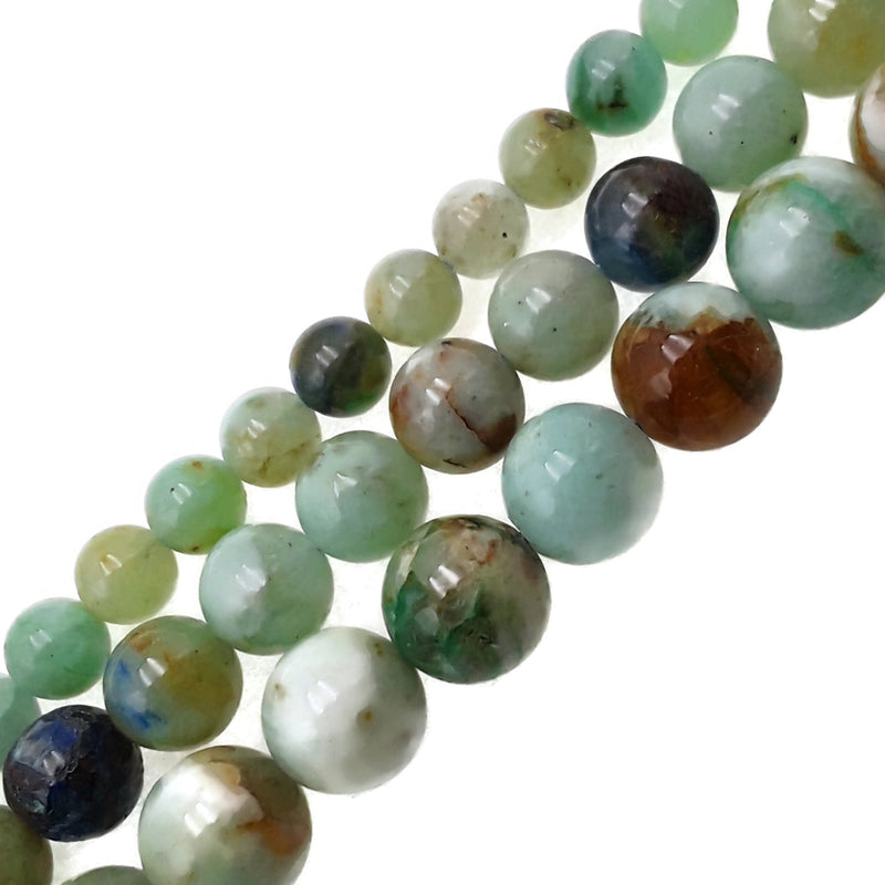 natural chrysocolla smooth round beads