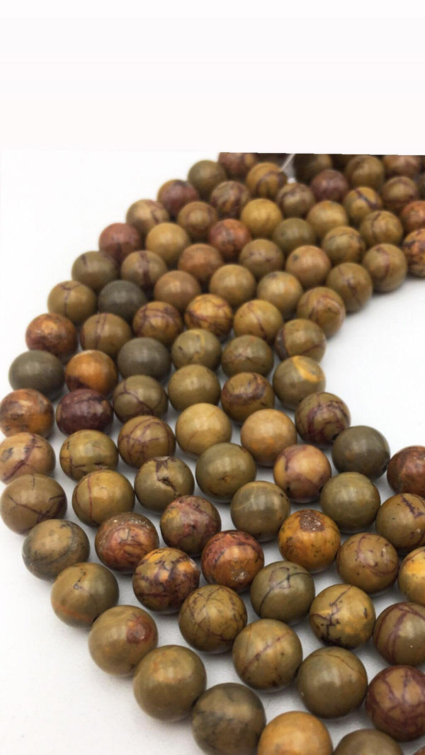 autumn jasper smooth round beads