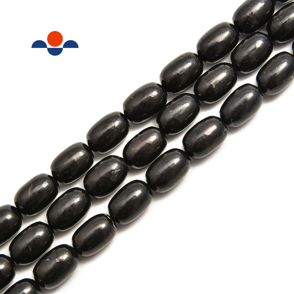 Shungite Smooth Oval Bean Shape Nugget Beads 6x10mm 8x12mm 10x14mm 15.5'' Strand